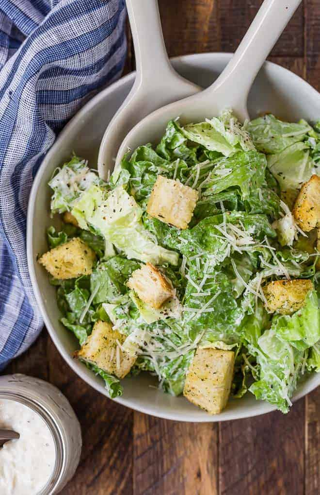 Overhead view of a caesar salad.