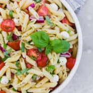 Close up partial view of a bowl of pasta salad with tomatoes, fresh mozzarella, red onion, and fresh basil.