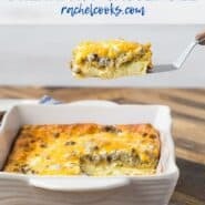 Slice of breakfast casserole being lifted out of a pan, with a text overlay naming the recipe.
