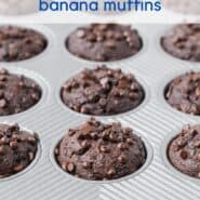 Chocolate muffins with chocolate chips, with text overlay.