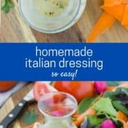 "two images of dressing in a small glass carafe, text overlay reads ""Homemade Italian Dressing"""