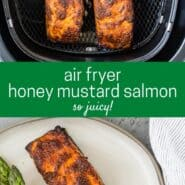 Two photos of salmon, top photo shows two fillets in the basket of an air fryer, and the bottom photo shows plated salmon with asparagus.
