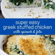 "Two images in a collage of A breaded chicken breasts stuffed with spinach, feta, and onion. Text overlay reads ""super easy greek stuffed chicken with spinach and feta."""