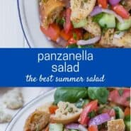 "Two images of salad on a white plate, consisting of tomatoes, cucumbers, croutons, fresh herbs, and red onions. Text overlay reads ""panzanella salad - the best summer salad"""