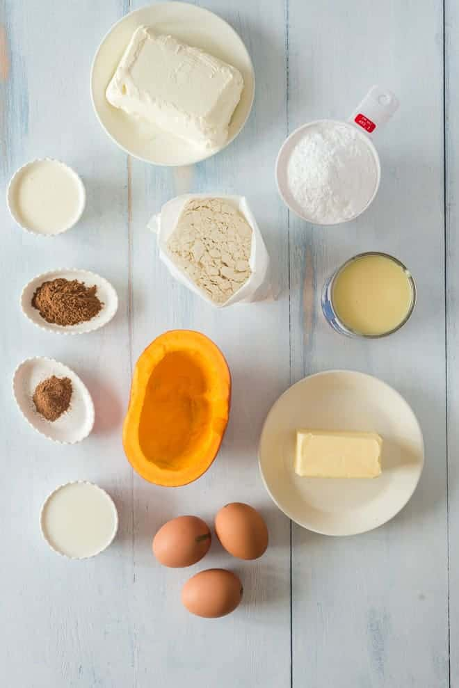 Ingredients for a pumpkin spice cake.