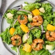 "Overhead view of a colorful salad with shrimp, mango and avocado. Text overlay reads, ""shrimp, mango, and avocado salad."""