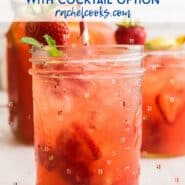 "Image of pink lemonade with ice and berries in a glass jar. Text overlay reads ""sparkling berry lemonade"""