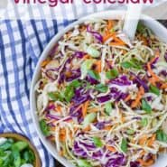 "Colorful coleslaw in a white bowl with a blue and white linen. Text overlay reads ""the best vinegar coleslaw."""