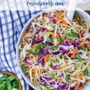 "Colorful coleslaw in a white bowl with a blue and white linen. Text overlay reads ""vinegar coleslaw - rachelcooks.com"""