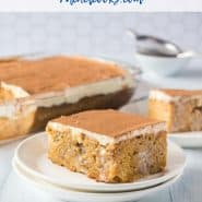 "Cake on a plate, with additional cake in the background. Text overlay reads ""the best pumpkin poke cake - rachelcooks.com"""