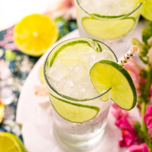 Beautiful cocktails made with gin and tonic water and lime.