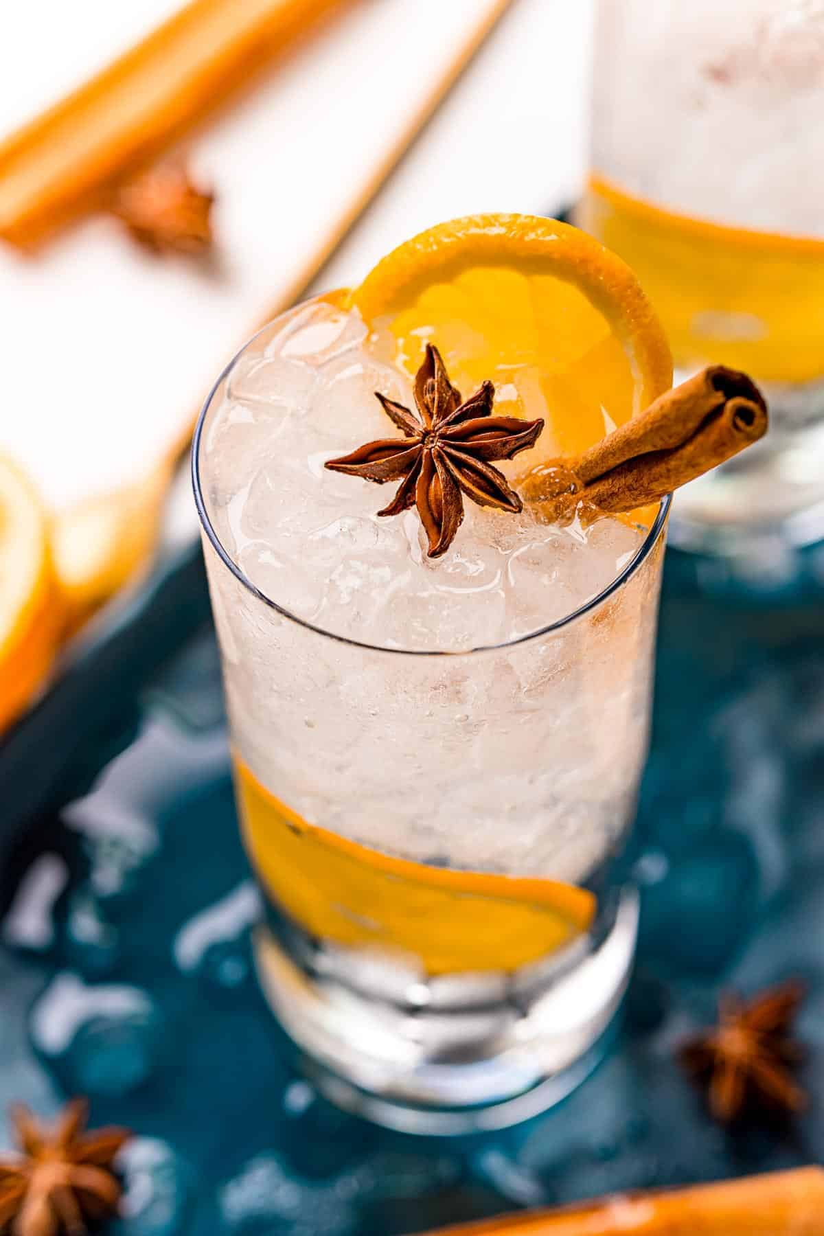 Overhead view of a fall inspired cocktail made with orange, gin, tonic, cinnamon, star anise.