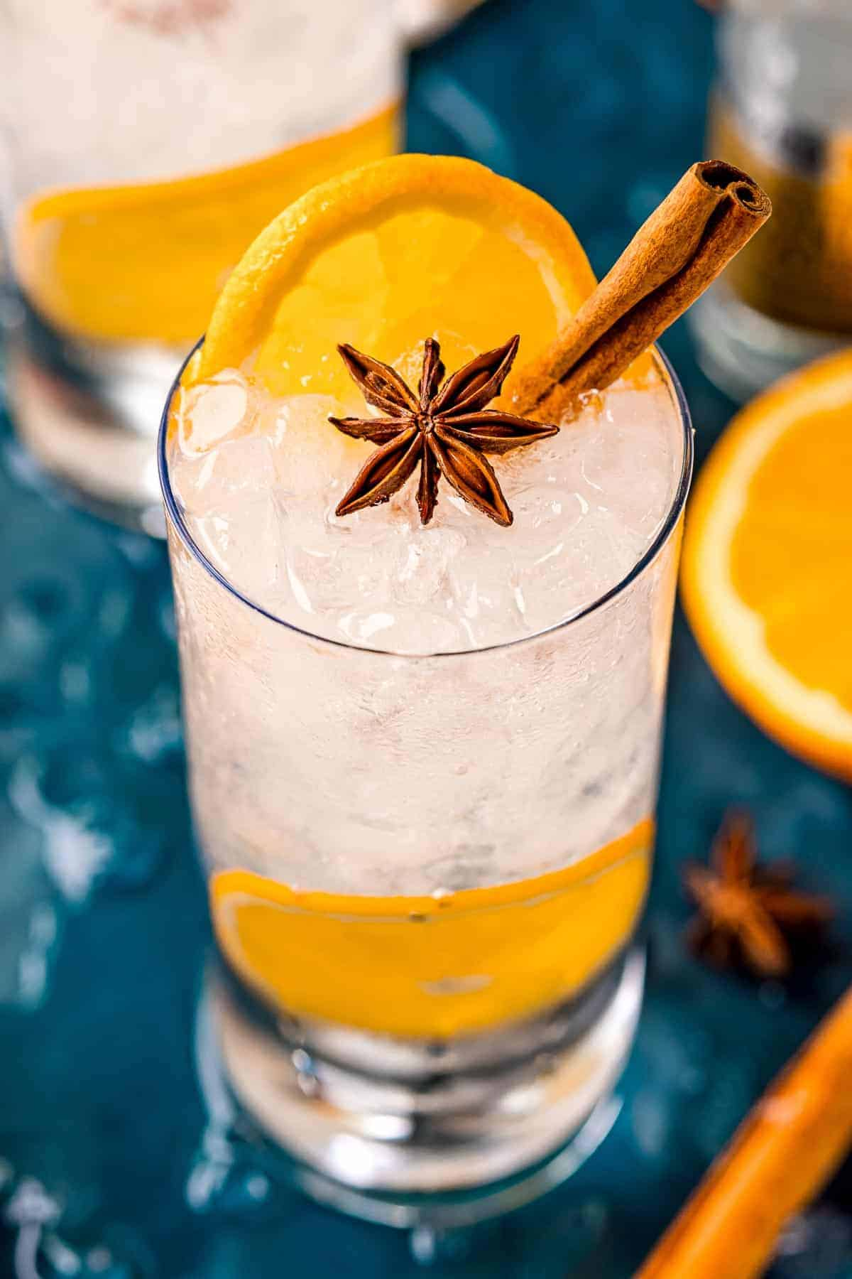 Orange gin and tonic in a highball glass garnished with orange, star anise, and cinnamon.