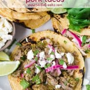 "Colorful pork tacos with text overlay that reads ""easy and delicious slow cooker pork tacos, rachelcooks.com"""