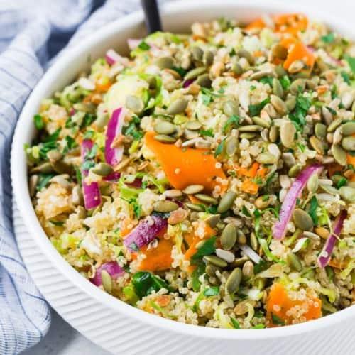Vegan quinoa salad in a bowl.