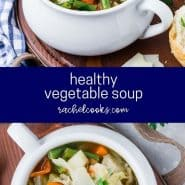 "Collage with text overlay that reads ""healthy vegetable soup"""