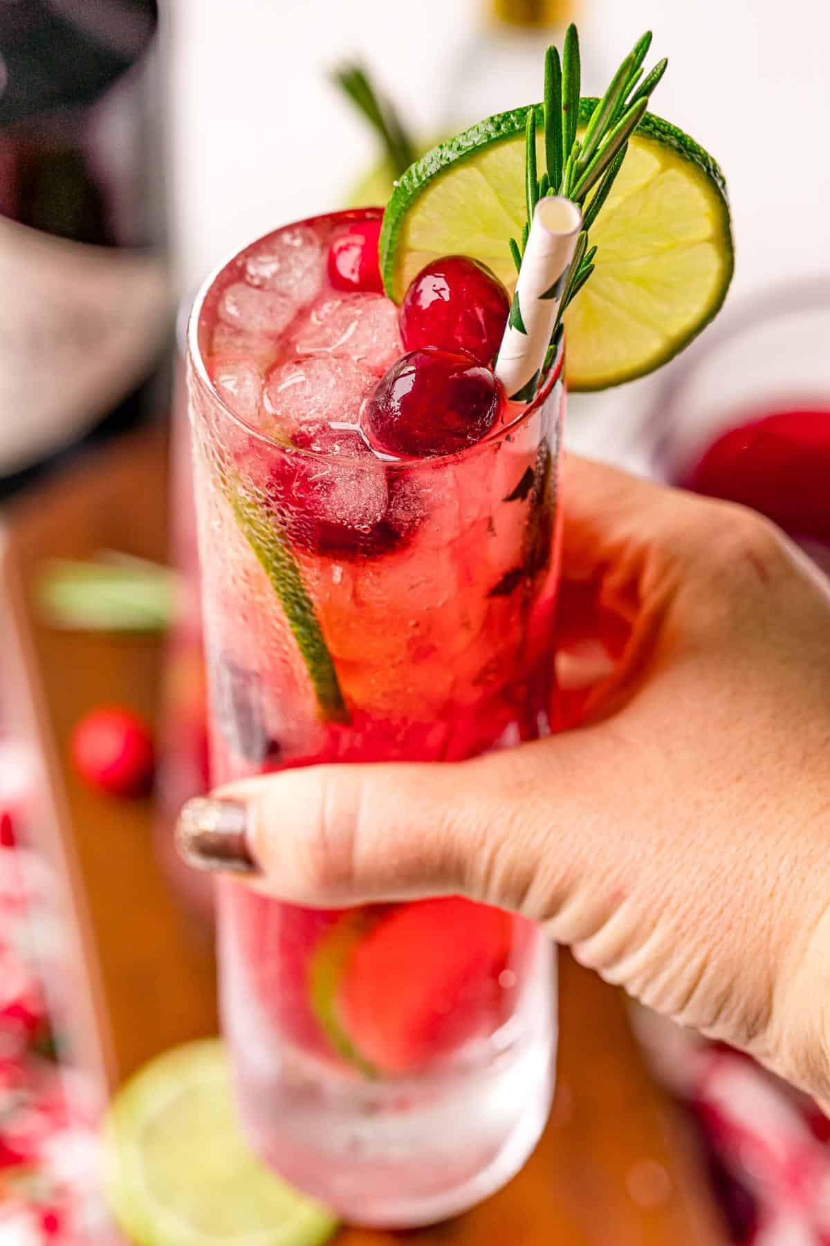 A hand holding a gin and tonic made with cranberries.