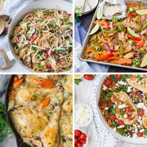 Four images of one pan chicken dinner recipes.