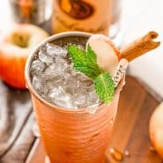 An iced drink in a copper cup, garnished with apple, mint leaves, and a cinnamon stick