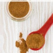 """Spice mixture with a text overlay that reads """"homemade apple pie spice, rachelcooks.com"""""""