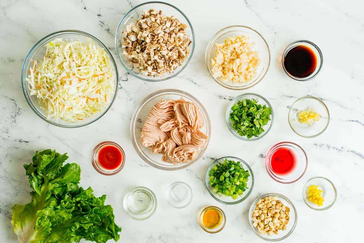 Overhead view of ingredients in glass bowls, including ground chicken and cilantro.