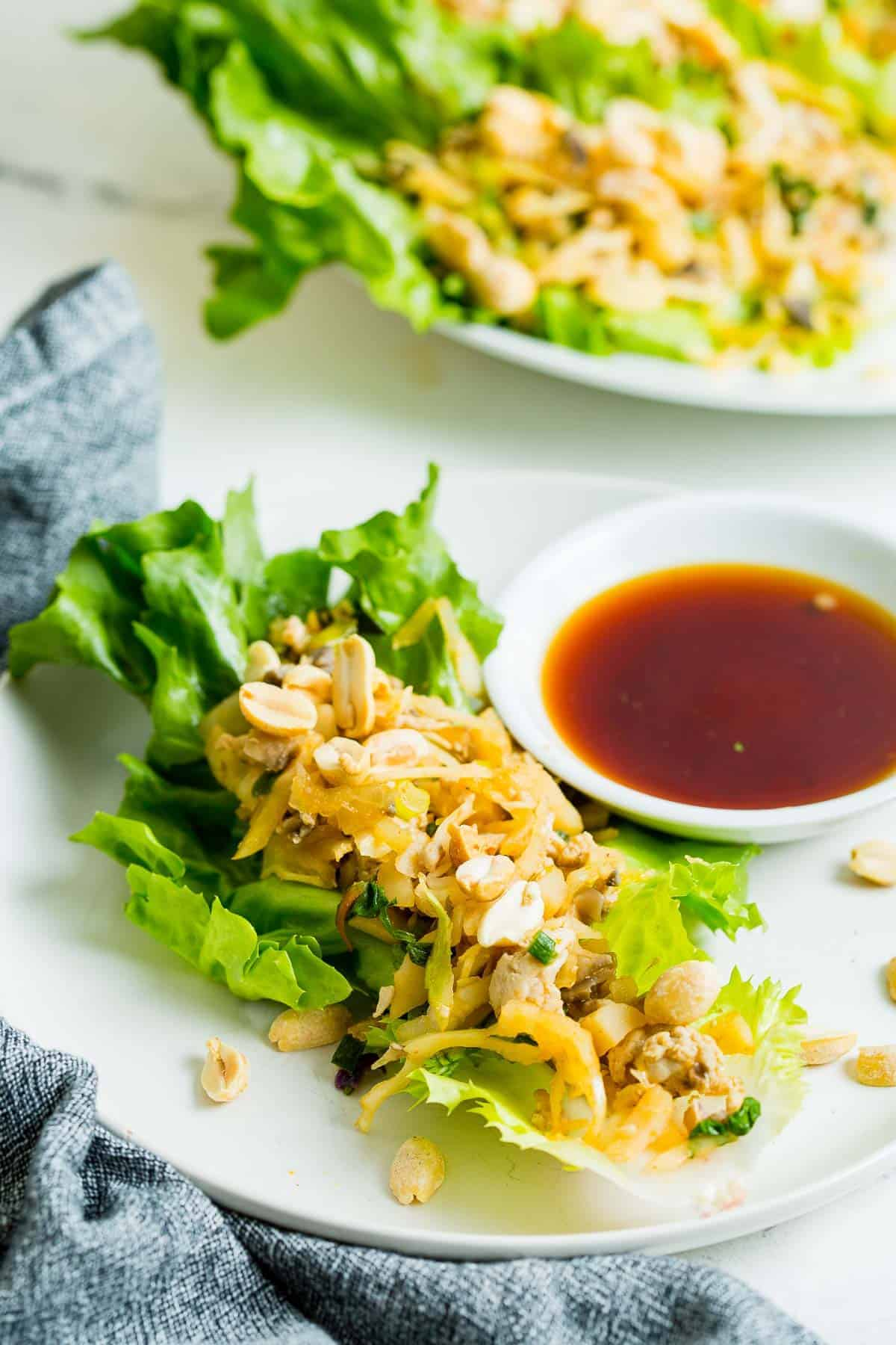 Composed lettuce wraps on a plate.