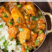 """Colorful chicken dish with rice, text overlay reads """"easy chicken tikka masala, rachelcooks.com"""""""