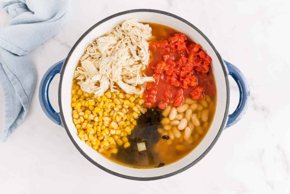Overhead view of white chili not yet mixed together in a large blue and white pot.