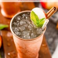 Apple cider moscow mule in a copper cup.