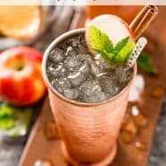 "A mule cocktail with a text overlay that reads ""easy apple cider moscow mule, rachelcooks.com"""