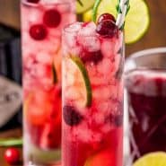 """Two bright red drinks, text overlay reads """"Christmas gin & tonic, rachelcooks.com"""""""