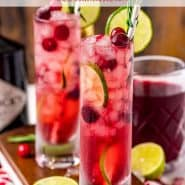 """Two bright red drinks, text overlay reads """"holiday gin & tonic, rachelcooks.com"""""""