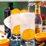 """Drink in a highball glass with text overlay that reads """"fall gin & tonic recipe, rachelcooks.com"""""""