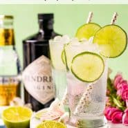 """Two drinks, and drink bottles on a light green background. Text overlay reads """"classic gin & tonic, rachelcooks.com"""""""