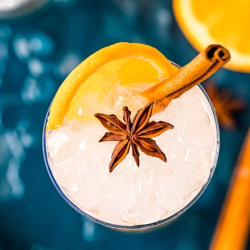 Overhead view of gin cocktail with an orange slice, cinnamon stick and star anise.