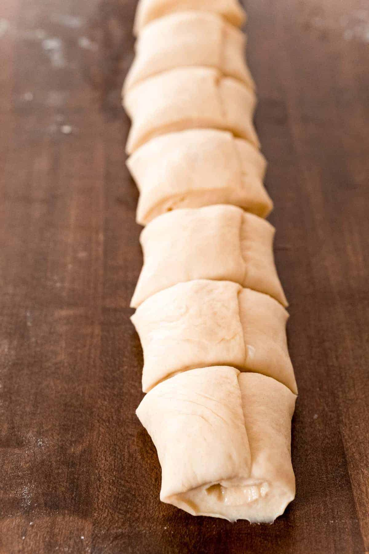 Roll of dough, cut into pieces.