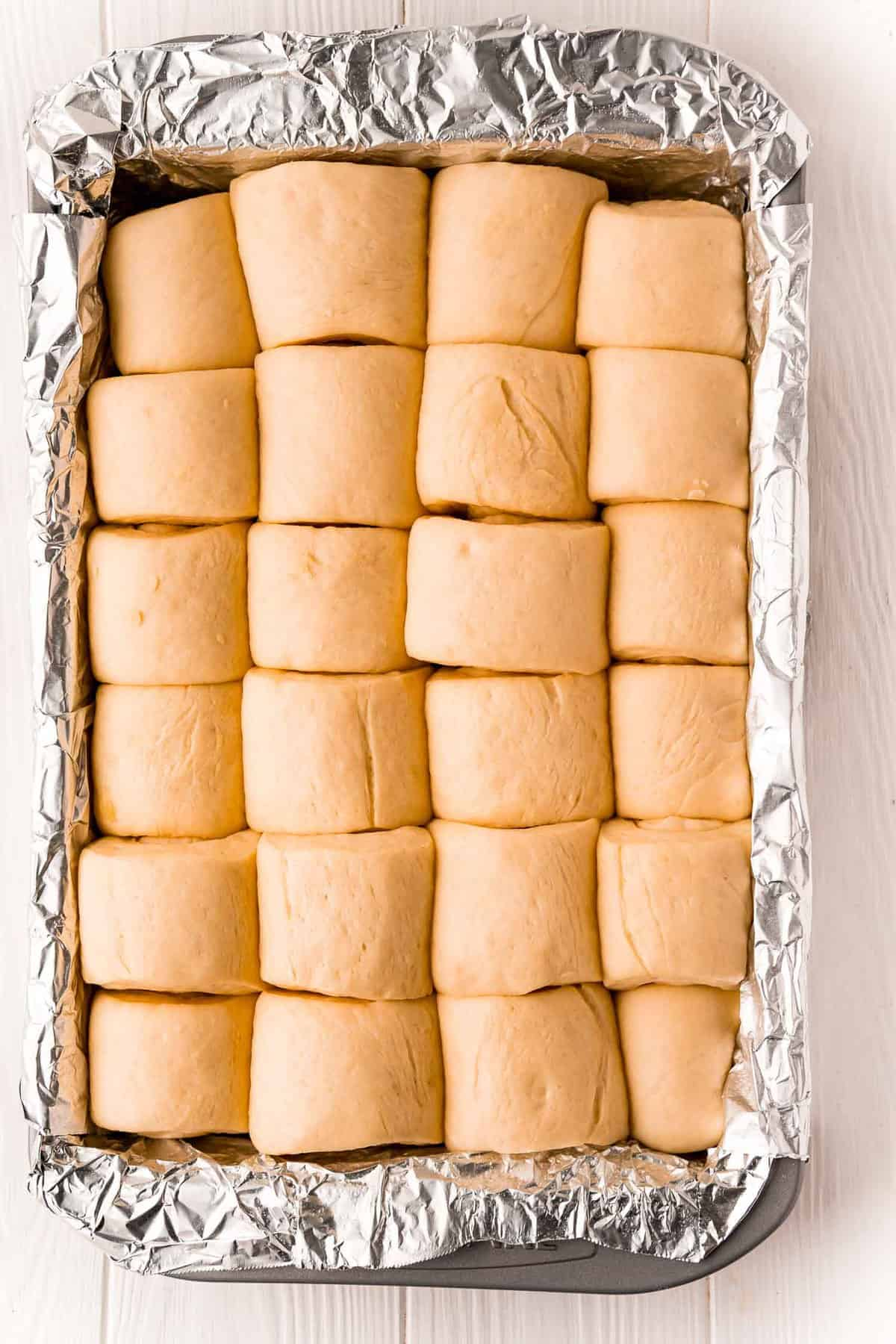 Rolls after rising in pan.