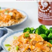 """Chicken, rice and broccoli on a plate, text overlay reads """"Instant pot honey sriracha chicken, rachelcooks.com"""""""