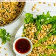 """Overhead view of a colorful dinner, text overlay reads """"chicken lettuce wraps, rachelcooks.com"""""""