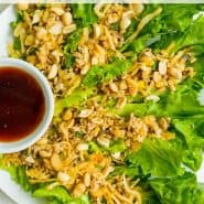 """Lettuce wraps on a plate, text overlay reads """"chicken lettuce wraps, rachelcooks.com"""""""