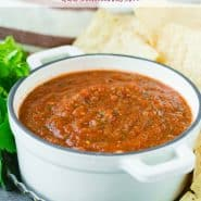 """Salsa in a bowl with a text overlay that reads """"easy blender chipotle salsa, rachelcooks.com"""""""