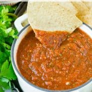 """Salsa in a bowl with a text overlay that reads """"blender chipotle salsa, rachelcooks.com"""""""