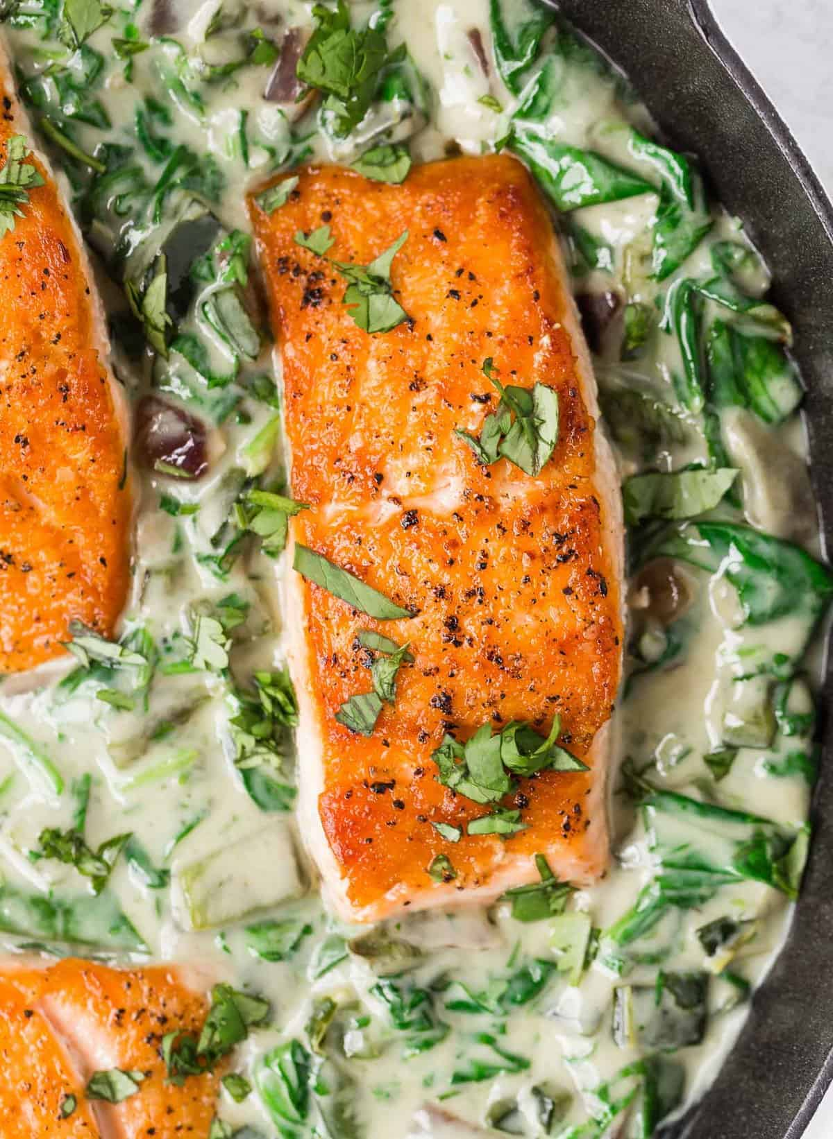 Overhead view of seared salmon in a bed of creamy spinach sauce.