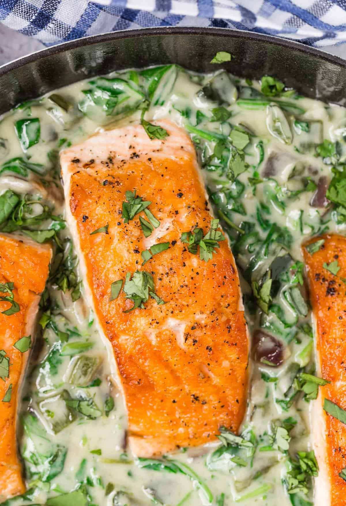 Overhead view of a fillet of seared salmon in spinach cream sauce.