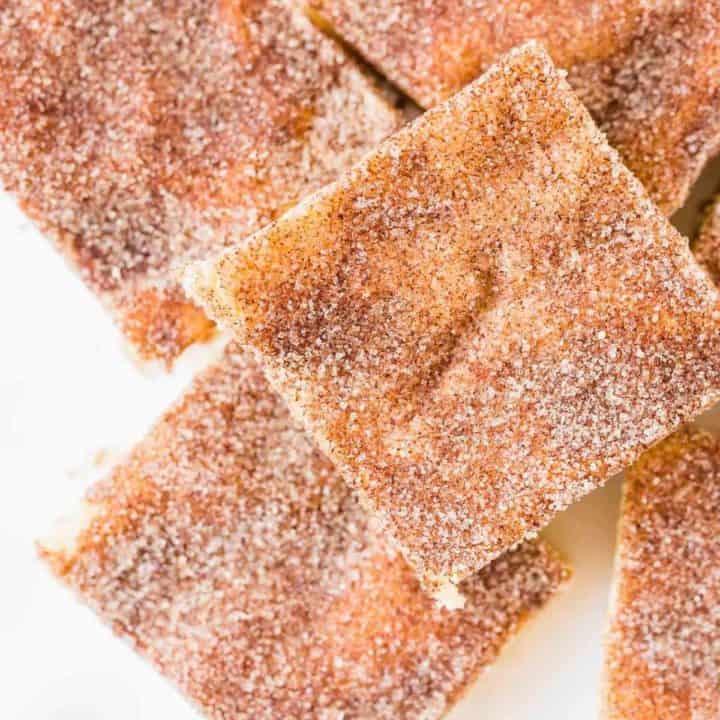 Overhead view of cinnamon sugar dusted square bars