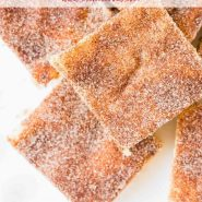 """Square cookie bars on a white plate, text overlay reads, """"the best snickerdoodle bars, rachelcooks.com"""""""