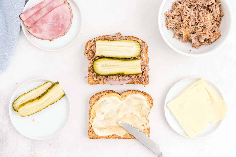 Sandwich being made.