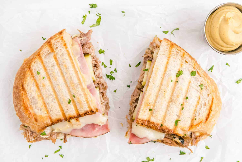 Sandwich, split into two halves.