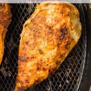"Chicken, text overlay reads ""air fryer chicken breasts, rachelcooks.com"""