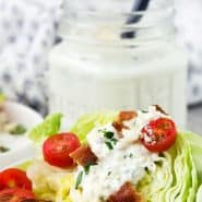 """Wedge salad, text overlay reads """"healthy blue cheese dressing, rachelcooks.com"""""""